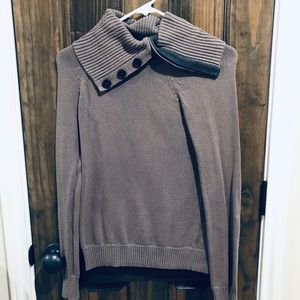 Gray button cowl neck sweater